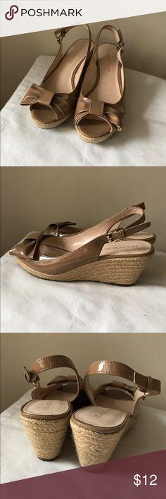 "Franco Sarto beige bow espadrille wedges Beige patent leather espadrille wedges - adjustable buckle - peep toe front - 0.5"" front platform - 3"" wedge heel - size 8 Franco Sarto Shoes Wedges"