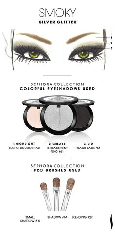SMOKY: Silver Glitter HOW TO #sephoracollection #sephora #makeup #eyeshadow