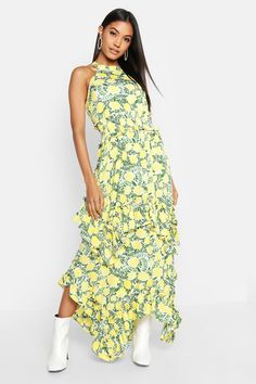 67d82fead80 Ruffle Detail Halterneck Floral Maxi Dress