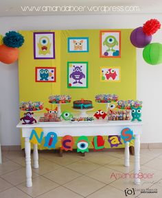 Mesa do bolo 1st Birthday Decorations Boy, 5th Birthday Girls, 1st Birthday Themes, Baby Birthday, Monster 1st Birthdays, Monster Birthday Parties, Monster Party, First Birthdays, Monster Cupcakes