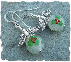 Holly Jolly Angels Lampwork Bead Christmas Bead by JavaBead, $32.00