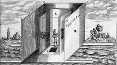 """Jeder ist in seiner verkehrten Welt gefangen! So kann man sich wohl Marx' Auffassung von der bürgerlichen Ideologie als """"camera obscura"""" vorstellen. Athanasius Kirchner """"Ars Magna Lucis et Umbrae"""""""