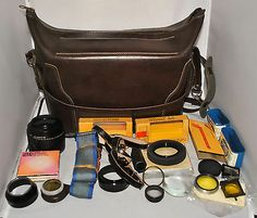 Leather Camera Bag with Filters & Accessories