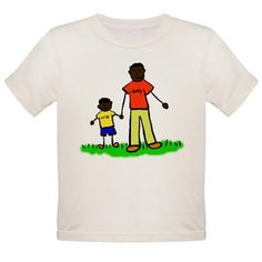 """#Father and #Son #TShirt- #Family holds hands. The #man's #shirt read #daddy and the #boy's t-shirt reads """"me"""". Family has #black hair and #dark #skin."""