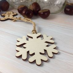 Wooden Snowflake Shaped Christmas Tree Ornament / Decoration by Jellypress on Etsy