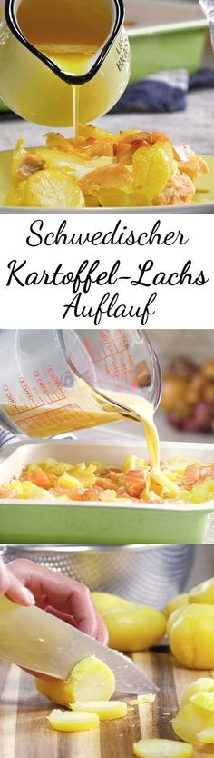 Swedish potato salmon casserole - how it works-Schwedischer Kartoffel-Lachs-Auflauf- so geht's When salmon fillets and potatoes meet in a casserole dish, only something very good can come out of it. Salmon Recipes, Beef Recipes, Vegan Recipes, Cooking Recipes, Shrimp Recipes, Delicious Recipes, Salmon Casserole, Casserole Dishes, Potato Casserole