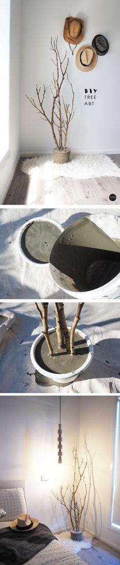 DIY - Árvore de galhos secos e concreto.