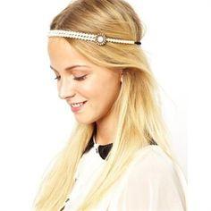 Pearl Flower Headband Bohemian Hairstyles, Headband Hairstyles, Wedding Hairstyles, Bohemian Headband, Pearl Headband, Pearl Headpiece, Vintage Headbands, Stretchy Headbands, Rose Hair