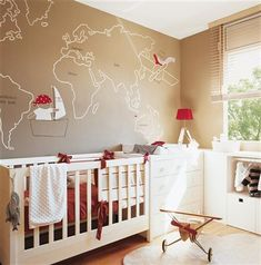 Bedroom with cot and wall illustration