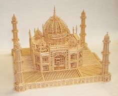 Ron's first matchstick project wasn't a simple one. This miniature Taj Mahal measure about square around the base. Diy Projects With Popsicle Sticks, Craft Stick Crafts, Wood Crafts, Paper Craft, Toothpick Crafts, Matchstick Craft, Front Wall Design, Arte Nerd, Paper Flower Decor