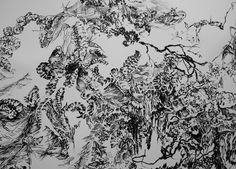 detalle de trabajo, tinta sobre papel 140 x 110 cm