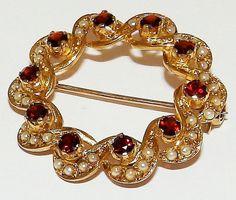 Fine Retro 9ct Gold GArnet & Pearl Wreath Brooch by JulesJewellers