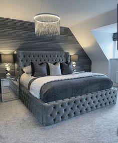 Luxury Bedroom Design, Bedroom Bed Design, Girl Bedroom Designs, Room Ideas Bedroom, Home Room Design, Home Decor Bedroom, Master Bedroom, Luxury Kids Bedroom, Silver Bedroom Decor
