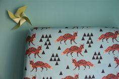 fitted crib sheet in triangle fox in aqua by iviebaby on Etsy, $55.00
