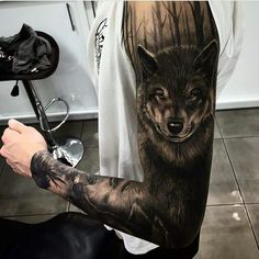 best wolf tattoo designs for men. Awesome wolf tattoos, Best wolf tattoos for men. A wolf tattoo is one of the most popular choices when it comes to animal-inspired tattoos. Wolf Sleeve, Wolf Tattoo Sleeve, Sleeve Tattoos, Tattoo Wolf, Tattoo Eagle, Wolf Tattoo Shoulder, Forest Tattoo Sleeve, Howling Wolf Tattoo, Wolf Tattoo Design