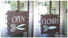 How clever is this open/close sign a fellow Uppercase Living sister did for a hair salon .  - Decoration For Home Home Hair Salons, Hair Salon Interior, Best Hair Salon, Home Salon, Hair And Beauty Salon, Rustic Salon, Salon Stations, Business Signs, Salon Business