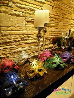 Masquerade Wedding, Carnival Masks, Mardi Gras, Birthday Candles, Candle Holders, Gift Wrapping, Invitations, Table Decorations, Crafts