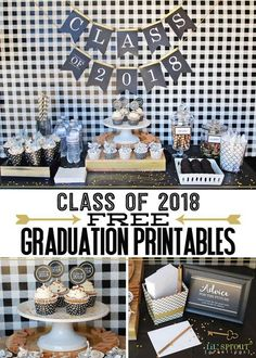 Free Class of 2018 graduation party printables by Lil' Sprout Greetings for your open house or grad parties! Cupcake toppers, signs, banner, buffet labels, water bottle labels and more are included. Download, print and assemble! Black and gold design for any high school or college graduation.