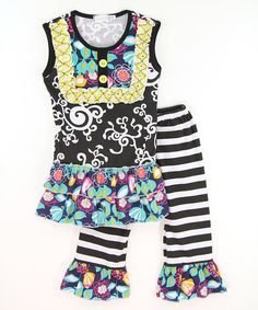 Look at this Black & White Scroll Top & Ruffle Pants - Infant, Toddler & Girls on #zulily today!