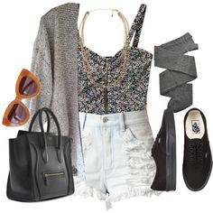 A fashion look from June 2013 featuring short-sleeve cardigan, bralet tops and denim shorts. Browse and shop related looks.