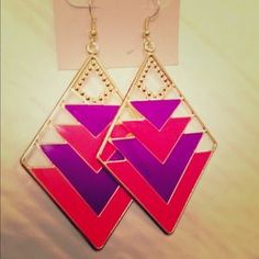 I just discovered this while shopping on Poshmark: Hot pink with purple enamel earrings. Check it out!  Size: OS
