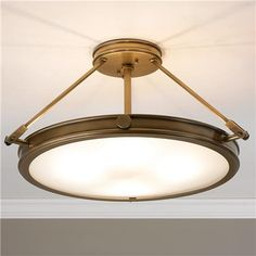 "Large Mid-Century Retro Ceiling Light  Antique brass/etched opal glass.  22""W x 11.5""H.  4x60watt-c.  Lamp with LED"