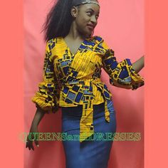 This fabric is custard yellow, very close to orange color. Bedazzled wrap top The sleeves are long ,so to achieve a fuller sleeve simply pull up the sleeves There are other fabrics available also simply slide the pictures African Tops, African Wear, African Women, African Inspired Fashion, African Print Fashion, Africa Fashion, African Print Dresses, African Dress, Latest African Styles