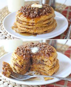 Pumpkin Cinnamon Streusel Pancakes  ok that sounds good but take away the pumpkin