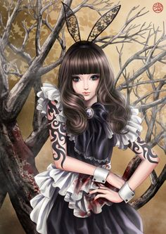 Dark twist of the bunny from Alice in Wonderland?: Anime character art (Alice Markings for Apoc)