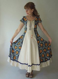 Newest to add to my collection. One of my absolute faves!! VINTAGE BLACK LABEL GUNNE SAX MUSLIN CORSET DRESS with CALIFORNIA POPPIES PRINT