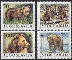Brown bears, bear grizzly  (Ursus arctos.   Post stamps from Yugoslavia  WWF, 1988