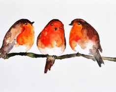 Robins de invierno - aves acuarela ORIGINAL pintura, Navidad invierno arte 6 x 8 pulgadas