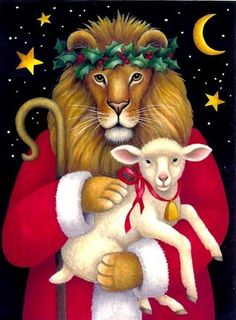 Lion with Lamb -- by Stephanie Stouffer