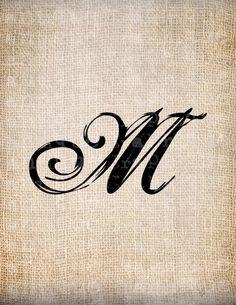 Antique Letter M Script Monogram Digital by AntiqueGraphique Hand Tattoos, M Tattoos, Cool Tattoos, Scripture Lettering, Hand Lettering Fonts, Typography, Letter L Tattoo, M Letter, Tattoo Project