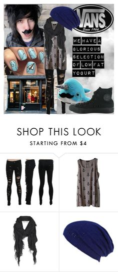 """""""CapnDesDes"""" by motionlesshorizon ❤ liked on Polyvore featuring Novo, AllSaints, Vans, River Island, Converse, hipster, desandnate, comedy, vidcon and scene"""