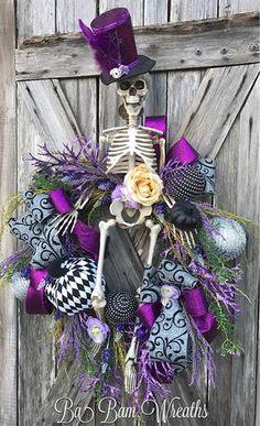 Mr. Sexy Bones Skeleton Wreath Skeleton Decor Halloween