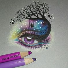 """""""She had a galaxy in her eyes, a universe in her mind"""" Galaxy eye✨ . - Galaxis - """"She had a galaxy in her eyes, a universe in her mind"""" Galaxy eye✨ . """"She had a galaxy in her eyes, a universe in her mind"""" Galaxy eye✨ . Galaxy Drawings, Pencil Art Drawings, Art Drawings Sketches, Cute Drawings, Watercolor Galaxy, Galaxy Painting, Eye Painting, Galaxy Eyes, Galaxy Art"""