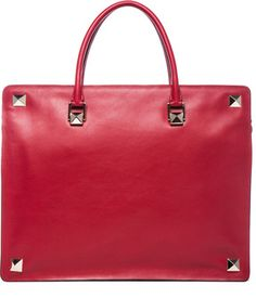 Valentino Rockstud Double Handle Bag in Red