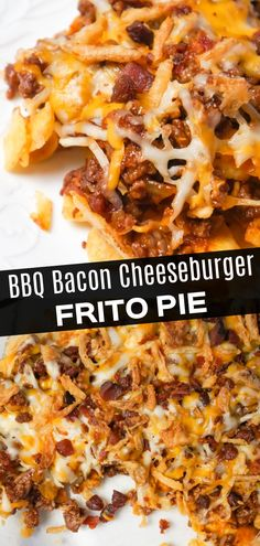 BBQ Bacon Cheeseburger Frito Pie is a delicous casserole with a base of Fritos corn chips, topped with ground beef and bacon crumble tossed in BBQ sauce, topped with shredded cheese and French's fried onions. Vegan Recipes Easy, Diet Recipes, Cooking Recipes, Kitchen Recipes, Yummy Appetizers, Appetizer Recipes, Recipes Dinner, Breakfast Recipes, Cooking
