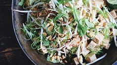 Marinated Tofu with Peanuts and Charred Bean Sprouts Recipe   Bon Appetit