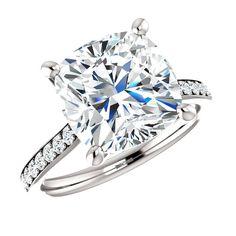 10mm Cushion SUPERNOVA Moissanite & Diamond Engagement Ring, Supernova Moissanite Rings, New Moissanite! Supernova Moissanite Jewelry Raven Fine Jewelers