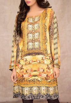 Buy Yellow/Black Digital Printed Linen Salwar Kameez (2pc) by Mausummery 2015