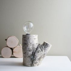 exposed bulb white birch forest lamp