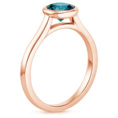 14K Rose Gold Sapphire Luna Ring, top view