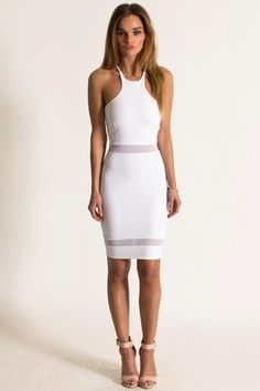 The Perfect Bachelorette Party Dress Donna Mizani Racer Front Mini In White Y
