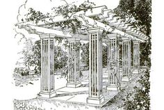 """In this pergola, airy beamed columns mirror the structure's roof. Weather-resistant cedar helps it withstand the elements. (Helpful hint: If you decide to paint your pergola, you may want to avoid the lead-based paint detailed in the plans. 1921 was a long time ago.) 1921, """"Building a Pergola""""   - PopularMechanics.com"""