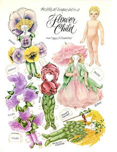 A little all bisque doll is a Flower Child two page paper doll by the artist Peggy Jo Rosamond features beautiful flower inspired costu. Paper Dolls Book, Vintage Paper Dolls, Paper Toys, Paper Doll Costume, Paper Art, Paper Crafts, Paper Dolls Printable, Paper People, Bobe