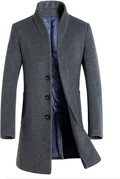 070c068faf679d Vogstyle Herren Winter Slim Fit Wollmantel Business Überzieher Schlank  Lange Windbreaker Jacken Dick Grau XS