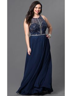 b1208f549a46c A-Line Beaded Lace Chiffon Long Navy Plus Size Prom Evening Dresses  99502021 Pretty Prom