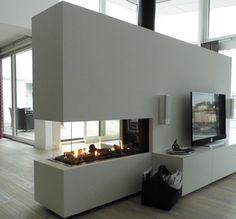 Kachelofen modern Double Fireplace, Cozy Fireplace, Fireplace Design, Living Room Decor Fireplace, Kitchen Installation, Open Plan Living, Kitchen Flooring, Kitchen Interior, Home Remodeling